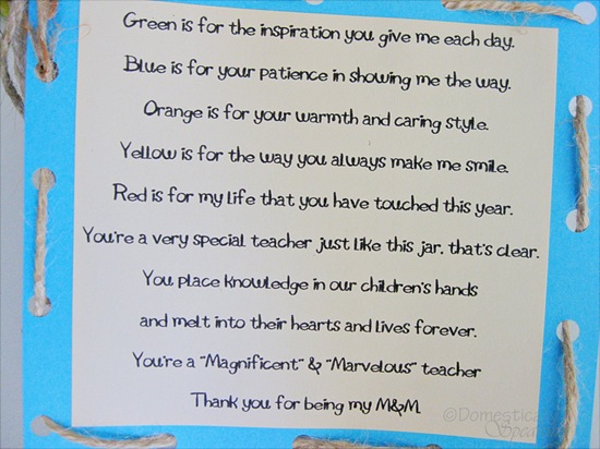M & M Teacher Appreciation Poem