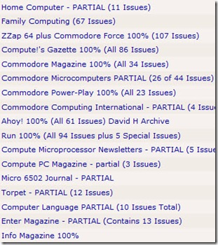 old magazines list screen