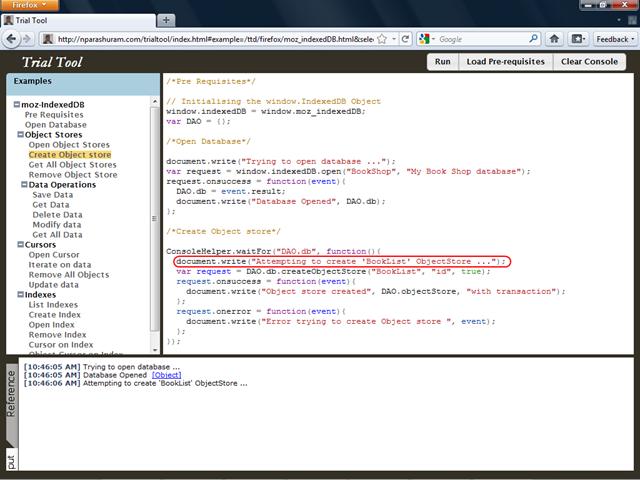 OakLeaf Systems: Testing IndexedDB with the Trial Tool Web