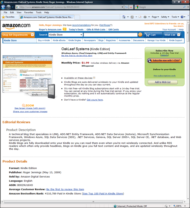 8377f31957c Help move the OakLeaf blog's Bestsellers Rank out of the (very) long tail.