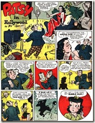 Comic strip art by Bill Dyer of a cartoon starlet and a frustrated director Patsy-in-Hollywood