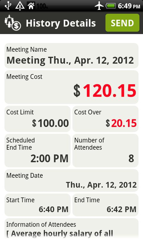 Meeting Cost Watcher Free - screenshot