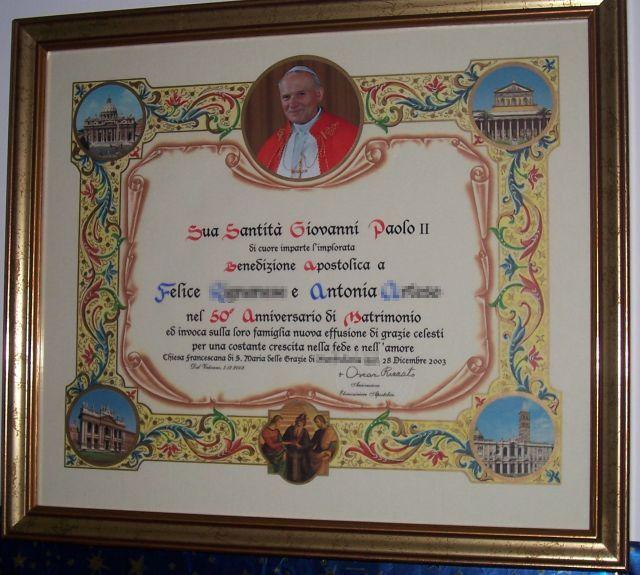 Anniversario Matrimonio Vaticano.Photo Gallery Benedizione Apostolica Di Sua Santita Giovanni