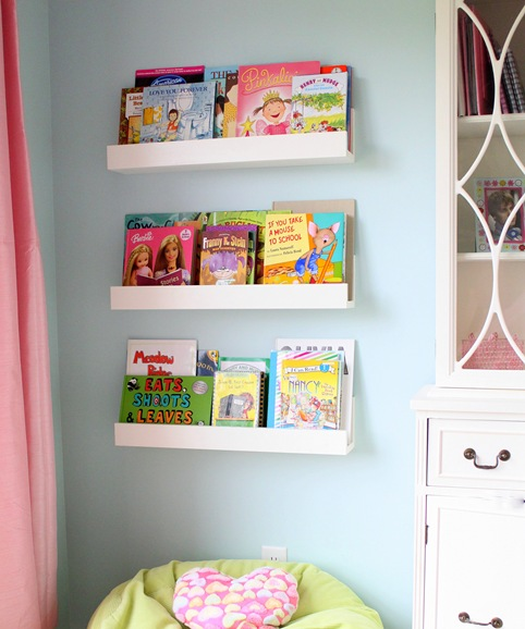 front facing bookshelves