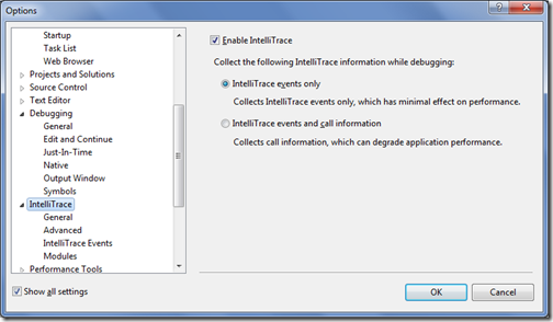 IntelliTracedialog in Visual Studio Dialog