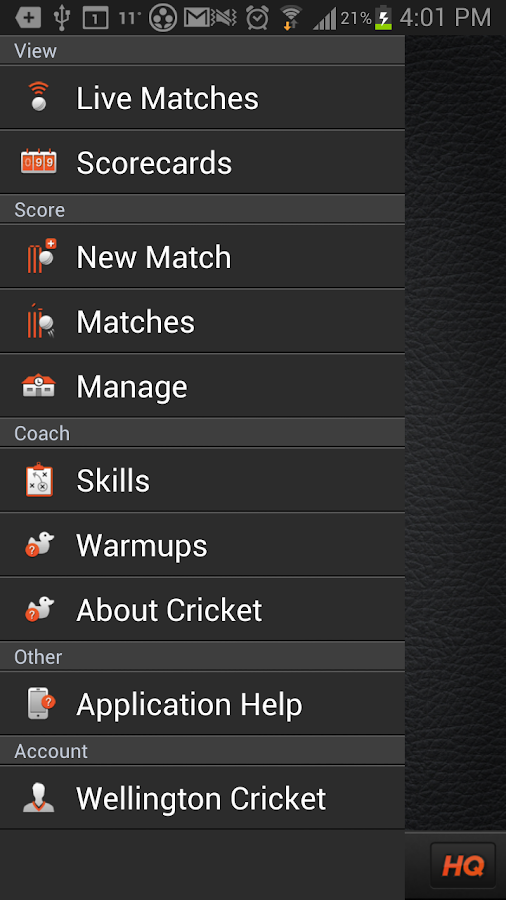 The CricHQ Cricket App - screenshot