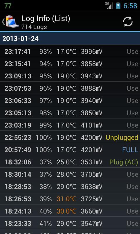 Battery Log - screenshot