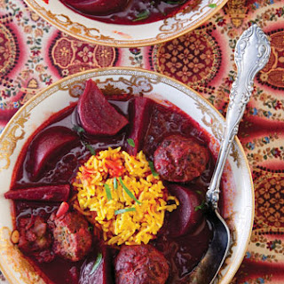 Beet Stew with Lamb Meatballs