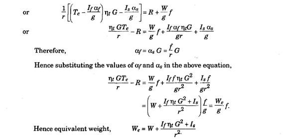 Calculation of Equivalent Weight, (Automobile)