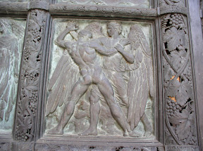 St John the Divine door detail showing Jacob Wrestling with the Angel