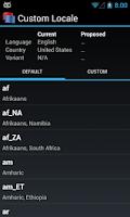 Screenshot of Custom Locale