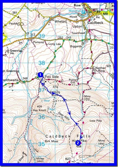 Our route up High Pike - 7 km, 385 metres ascent, 2.2 hours