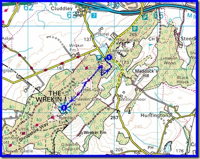 Our route up the Wrekin - 5km, 269 metres ascent, 1.5 hours