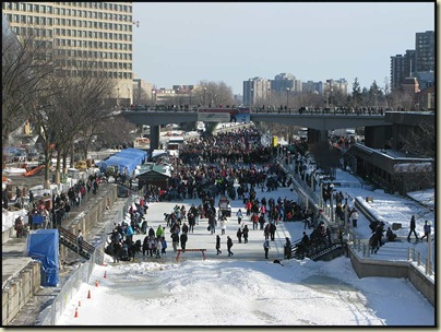 A crowded Rideau Canal at the start of Winterlude