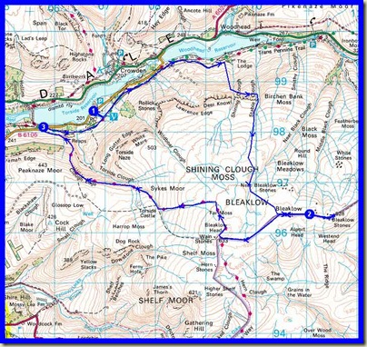 Graham's adapted route for the day, excluding his diversion to churn up Shelf Moor