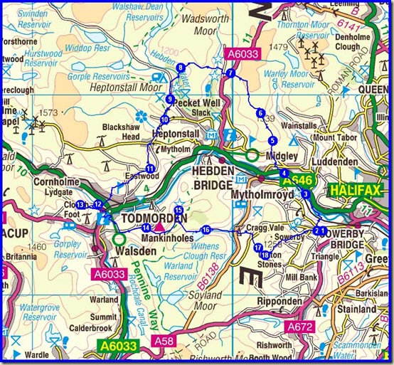 Our Calderdale Hike route - 2011 - 43km, 1750 metres ascent, 7 hours 37 minutes