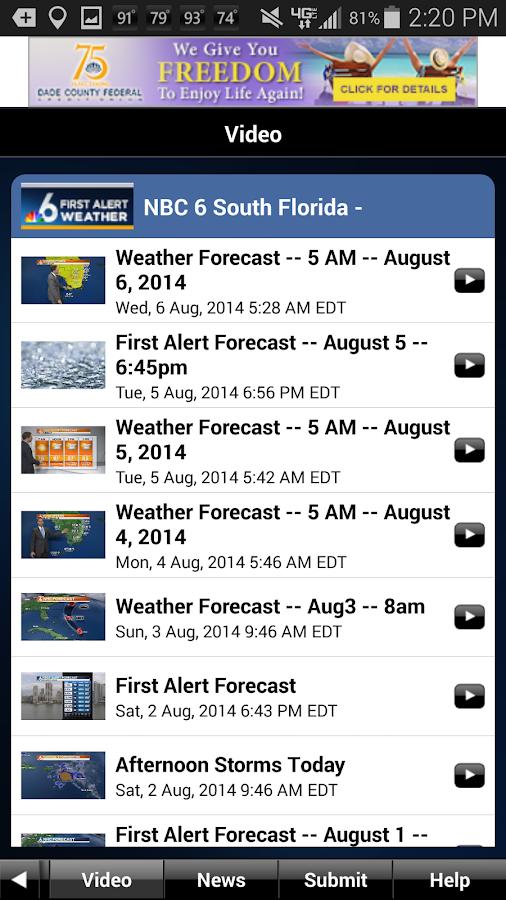 NBC 6 South Florida Weather- screenshot