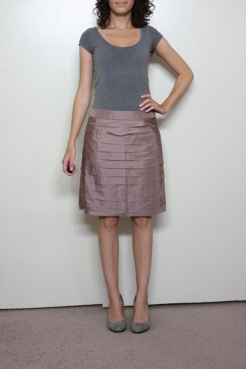 Review: LOFT Petite Silk Tiered and Metallic Slub Jacquard Skirts