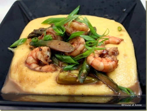 Garlic Cheddar Polenta with Shrimp and Asparagus