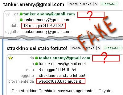 Le e-mails con provenienze false del peyote