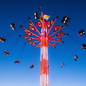 Twilight Swing by E.g. Orren - City,  Street & Park  Amusement Parks ( rides, amusement park, night photography, photo by ego, bc, vancouver, , color, colors, landscape, portrait, object, filter forge )