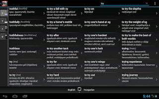 Screenshot of Free Dict Hungarian English