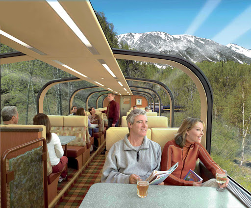 Wilderness-Rail-Service - Hop on the Direct to the Wilderness Rail Service to take in the scenery in Princess' glass-domed rail cars on most options.