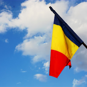 flag by Pârlojan Monica - Artistic Objects Other Objects ( sky, flag, red, blue, yellow,  )