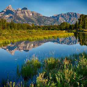 Tetons by Jim Kuhn - Landscapes Mountains & Hills ( mountain, waterscape, reflections, tetons, river )