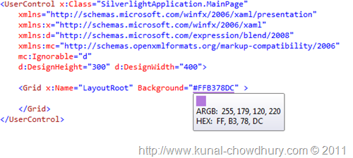 Color Highlighting in Visual Studio XAML page using