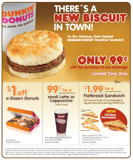 free latte dunkin donuts coupon