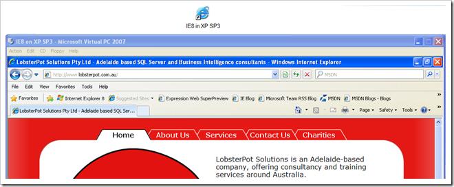 Virtual PC 2007 with desktop shortcut screengrab