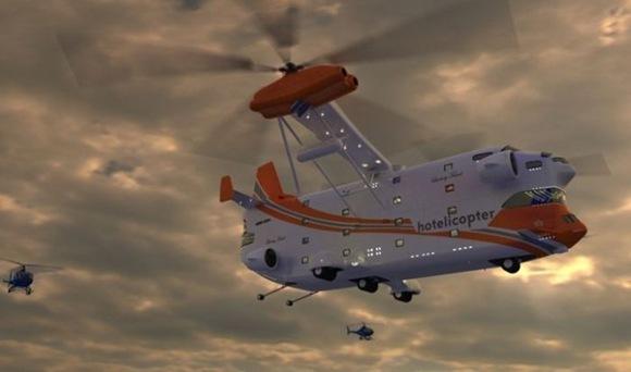 Latający hotel w helikopterze