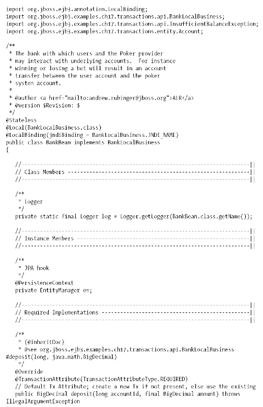 Transactions: Blackjack Game Example (Enterprise JavaBeans 3 1)