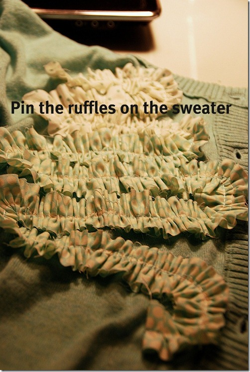 green sweater pin the ruffles