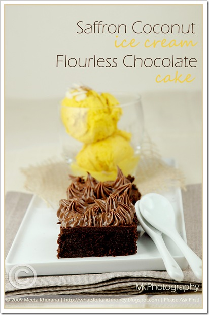 Flourless Choc Cake Saffron Coco IceCream (01) by MeetaK