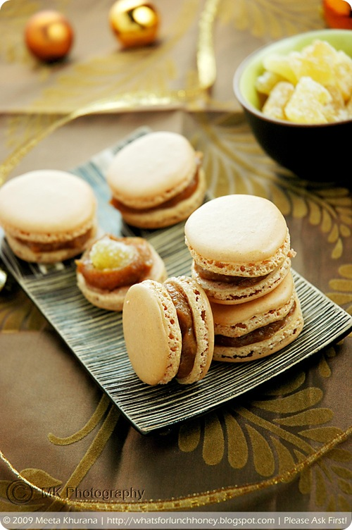 Lebkuchen Spice Macarons with Quince Jam and Candied Ginger (05) by MeetaK