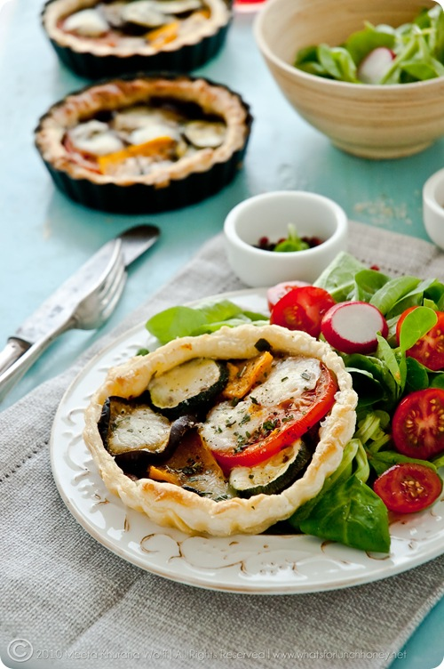 Roasted Pumpkin Aubergine Zucchini Tapenade Tarts with Buffalo Mozzarella (0007) by Meeta K. Wolff