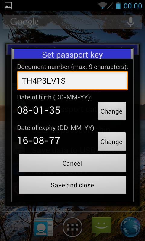 eCL0WN: an NFC passport tool - screenshot