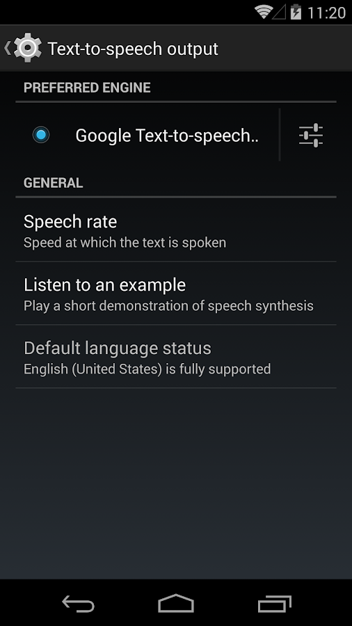 Google Text-to-speech- screenshot