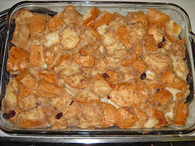 baked bread pudding in glass pan