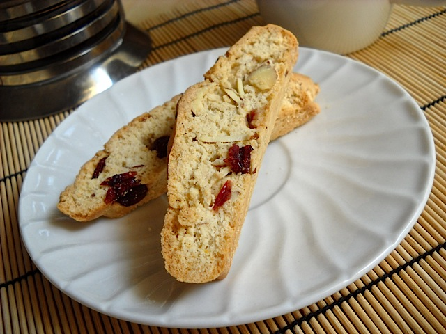 Two Cranberry Almond Biscotti on white plate