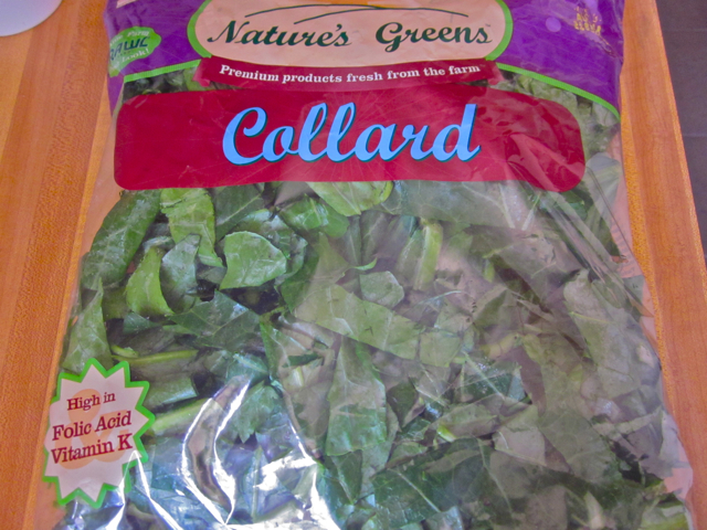 chopped collard greens in packaging