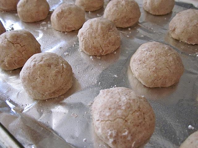 baked polvorones on baking sheet