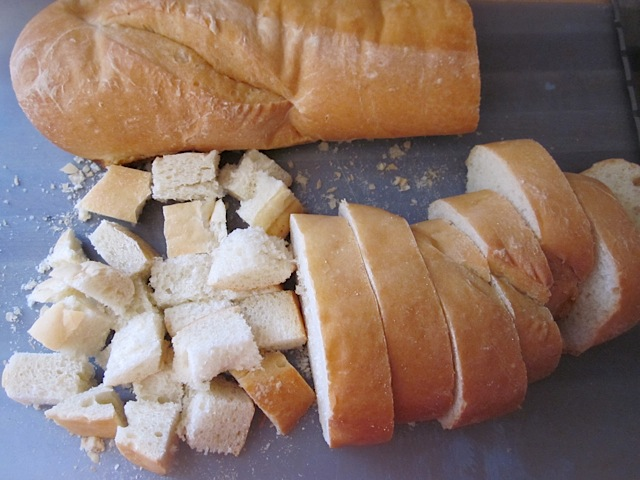 loaf of French bread cut into one inch slices and then cubes