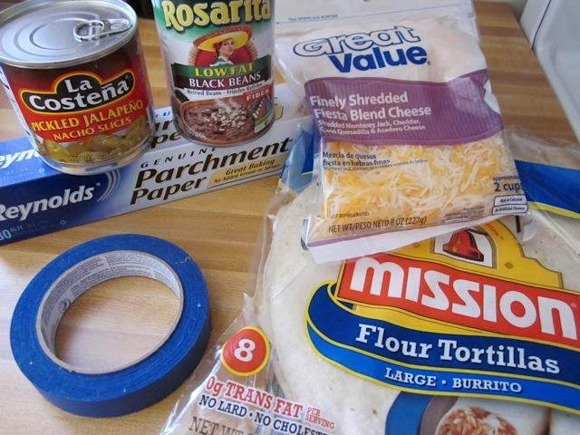 supplies and ingredients to make burritos