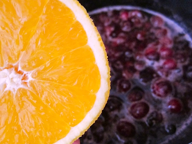 close up of orange to be added to mixture