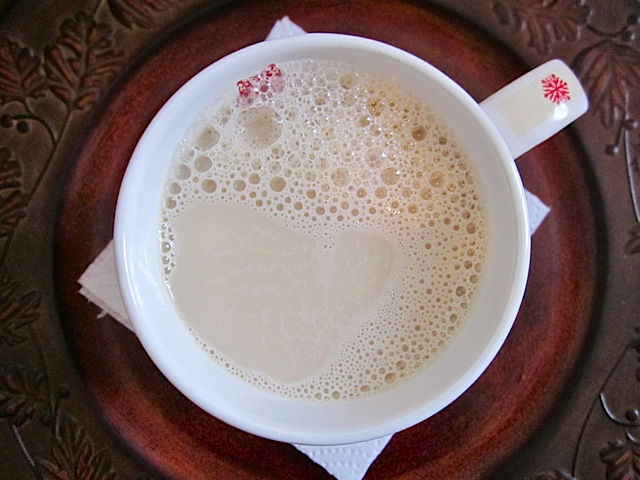 top view of homemade chai concentrate in mug