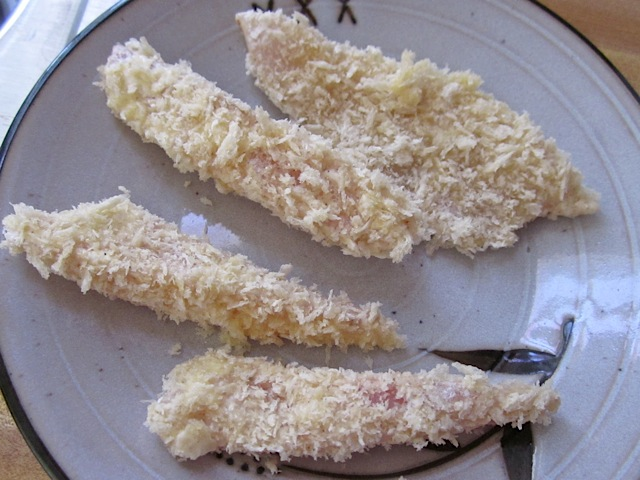breaded fish sticks ready to cook