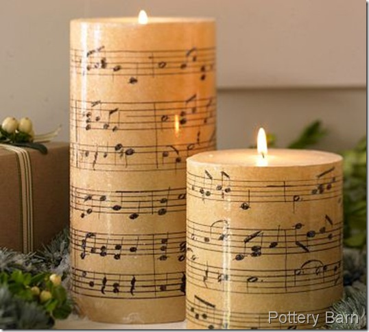 Pottery Barn Sheet Music Candles
